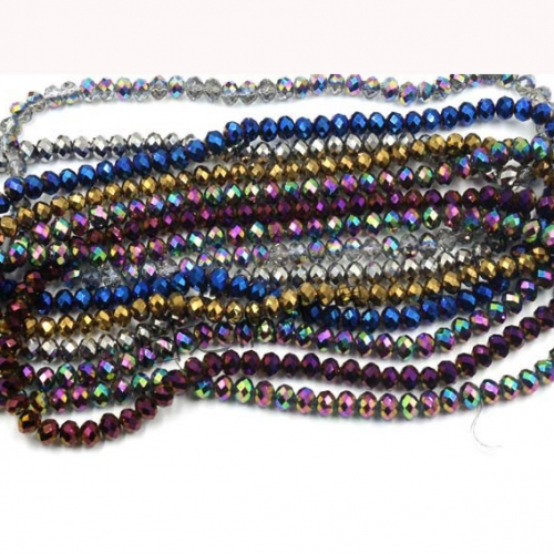 Plating Faceted Rondelle Glass Beads, 13 Colors Available