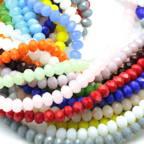 Faceted Rondelle Glass Beads, Jade Color, 22 Colors Available