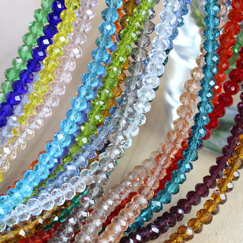 Faceted Rondelle Glass Beads, 19 Colors Available
