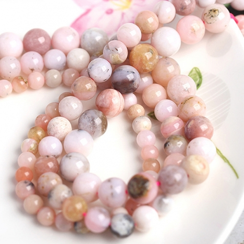 Natural Pink Opal Round Beads