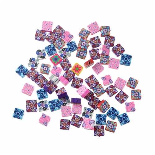 Polymer Flower Square Beads
