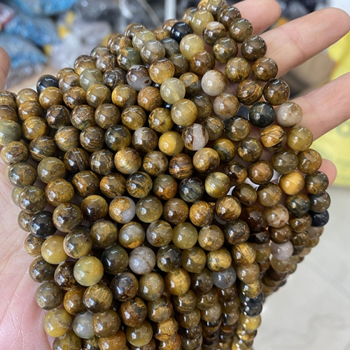 Golden Pietersite Round Beads