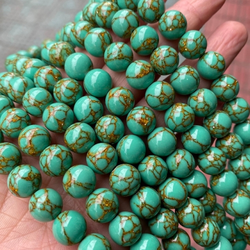 Green Gold Vein Turquoise Round Beads
