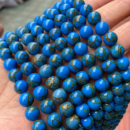 Blue Gold Vein Turquoise Round Beads