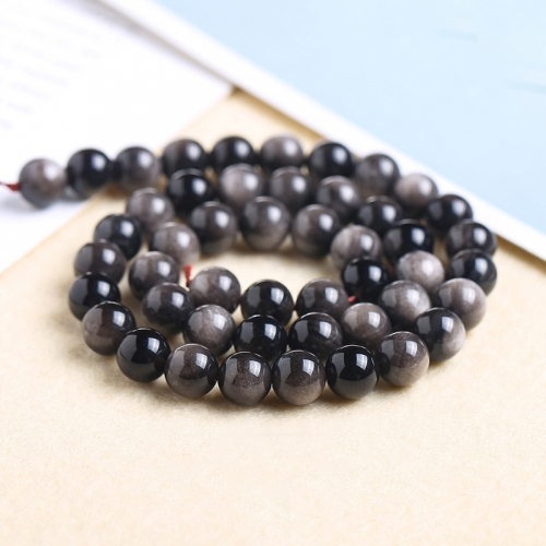 Silver Obsidian Round Beads