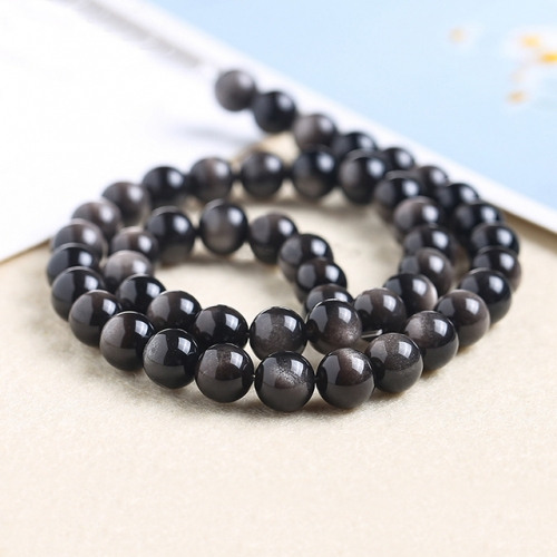 A Grade Silver Obsidian Round Beads